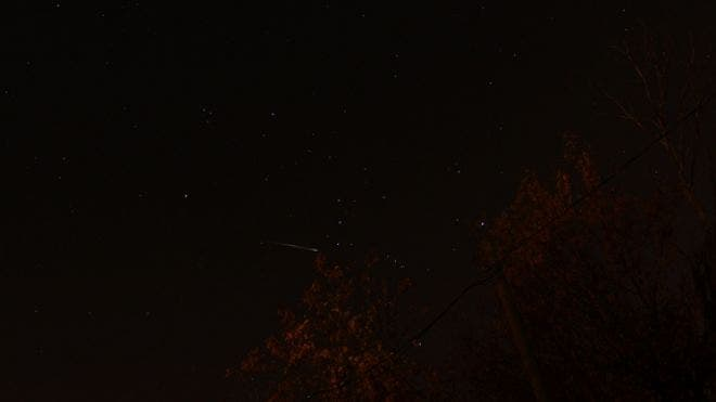 "Dale Mayotte snapped this photo of a meteor during the peak of the 2012 Orionid meteor shower on Oct. 21, 2012, from Clinton township in Michigan.It was Mayotte's 38th birthday, an ""excellent present,"" he said."
