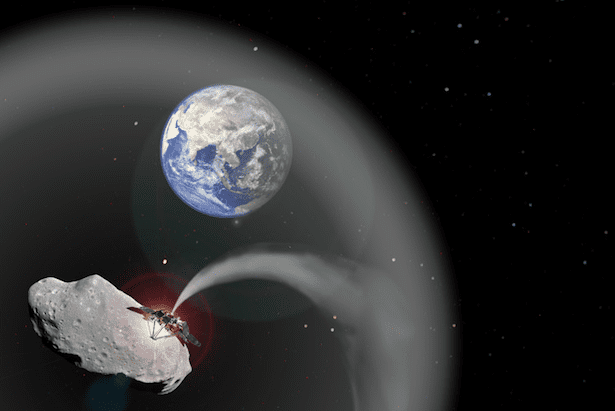 The latest form of solar shield: an asteroid whose dust is stabilized beyond Earth through gravity's pull (Charlotte Lücking, based on images from ESA and NASA)