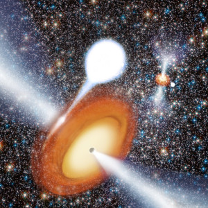 An artist's conception of a black hole in globular cluster. (c) NRAO/AUI/NSF