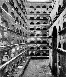 A corridor of one of the famous catacombs of Rome.