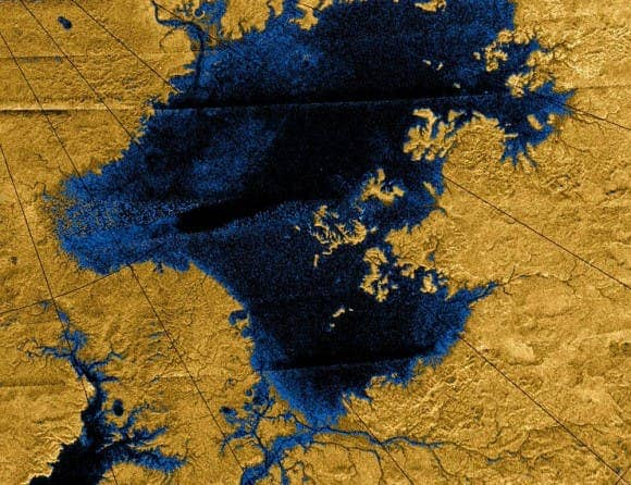 NASA's Cassini mission show river networks draining into lakes in Titan's north polar region. (c) NASA/JPL/USGS