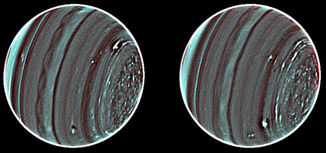 The two faces of Uranus as seen through the adaptive optics on the near-infrared camera of the Keck II telescope in Hawaii. (c) Lawrence Sromovsky, Pat Fry, Heidi Hammel, Imke de Pater.