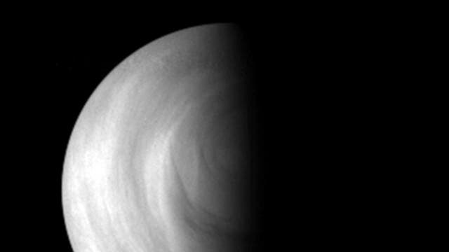 This 2006 Venus Express image shows the day and night sides of Venus. Credit: ESA