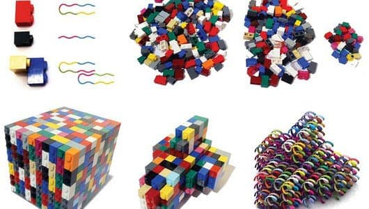 These are actually designs assembled with lego bricks, but based on the same principle, scientists have devised a new method for DNA self-assembly. (c)  Kurt V. Gothelf/Yonggang Ke et al