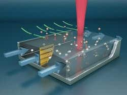 Concept illustration of the microscale free-surface microfluidic channel as it concentrates vapor molecules that bind to nanoparticles inside a chamber. (c) University of California