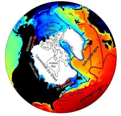 A new model of flood waters from melting of the Laurentide Ice Sheet and large glacial lakes along its edge that covered much of North America from the Arctic south to New England over 13,000 years ago, shows the meltwater flowed northwest into the Arctic first. This weakened deep ocean circulation and led to Earth's last major cold period.The direction of meltwater drainage is shown by the yellow arrows. The approximate position of the ice sheet is shown (in white) just before the onset of the Younger Dryas. The ocean colors are surface salinity from the control integration with warm (cold) surface currents shown in red (blue). (c) Alan Condron, UMass Amhers