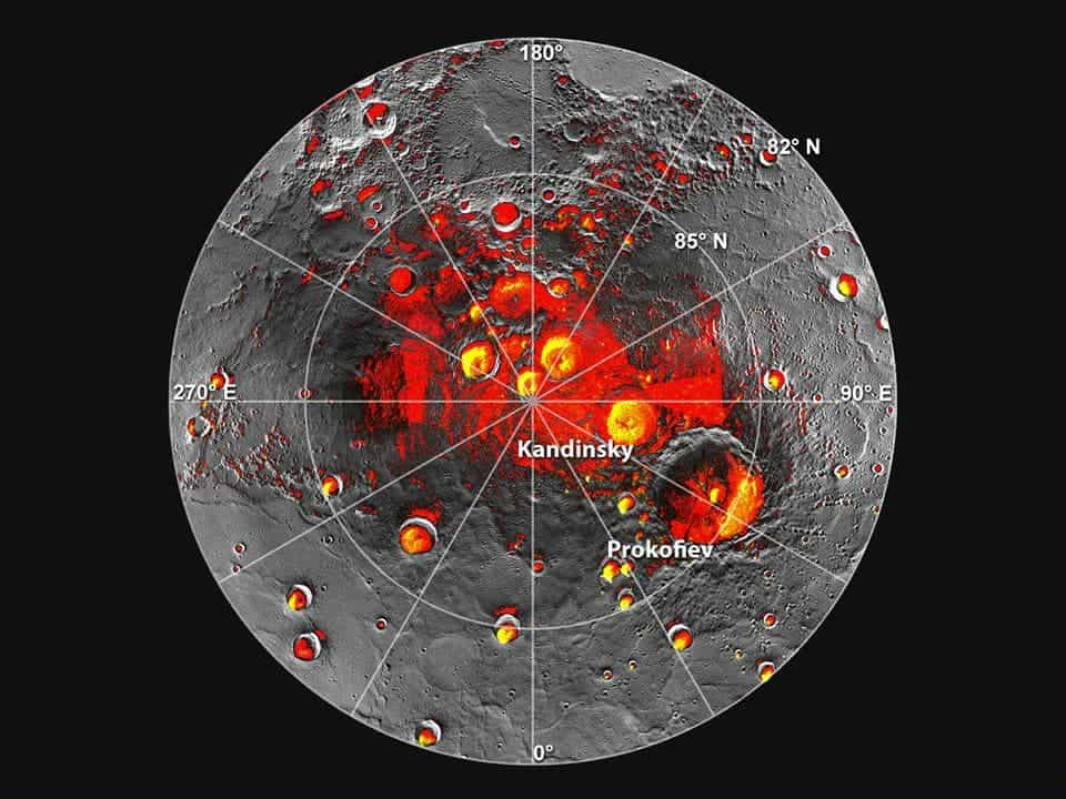 Shown in red are areas of Mercury's north polar region that are in shadow in all images acquired by MESSENGER to date. Image coverage, and mapping of shadows, is incomplete near the pole. The polar deposits imaged by Earth-based radar are in yellow (from Image 2.1), and the background image is the mosaic of MESSENGER images from Image 2.2. This comparison indicates that all of the polar deposits imaged by Earth-based radar are located in areas of persistent shadow as documented by MESSENGER images. (c) NASA