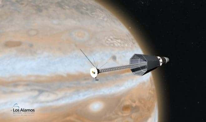 A proposed deep-space probe to Jupiter that uses the radioactive nuclear engine proposed at NASA and Los Alamos. (c) Los Alamos National Laboratory