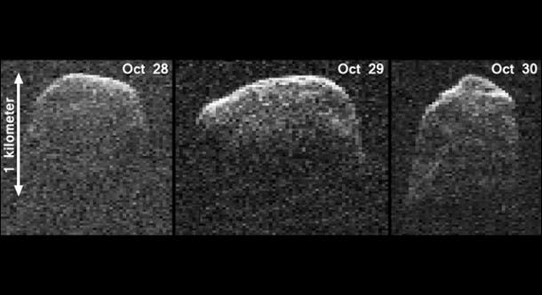 The asteroid's distance from Earth on Oct. 28 was 6.5 million miles (10 million kilometers). The asteroid's distance to Earth was 5.6 million miles (9 million kilometers) on Oct. 30. The perspective in the images is analogous to seeing the asteroid from above its north pole. Each of the three images is shown at the same scale.  (c) NASA