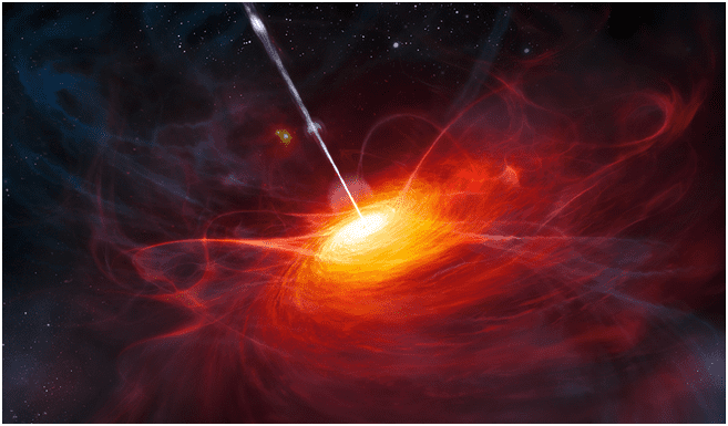 An artist's rendering of how the most distant quasar found to date would have appeared just 770 million years after the Big Bang (credit: European Southern Observatory/M. Kornmesser)