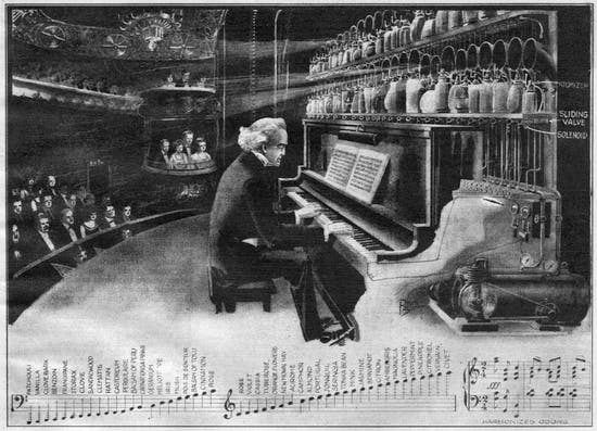 The smell organ as illustrated by Frank R. Paul in the June 1922 issue of Science and Invention.