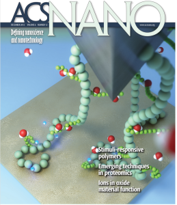 "The paper detailing the ""intelligent molecule"" research has been chose as the cover article for ACS Nano, in combination with a 3D graphic of the NIM-media designer. (c) ACS Nano"