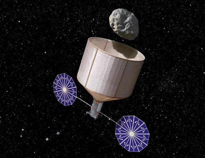 An artist impression of a robotic probe capturing an asteroid. It might look like a space rock bucket, however, the mission prospects outlined in the Keck report are extremely appealing. (c) Rick Sternbach/Keck Institute for Space Studies