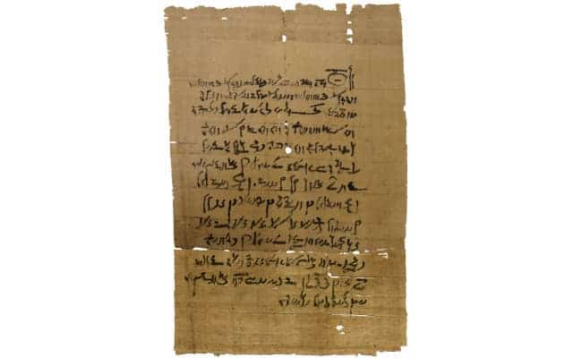 One of the papyri found near the Ancient temple of Tebtunis, located in the northern part, or lower Egypt [Via ]