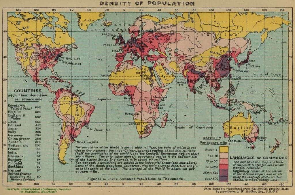 Population density in 1918 and now