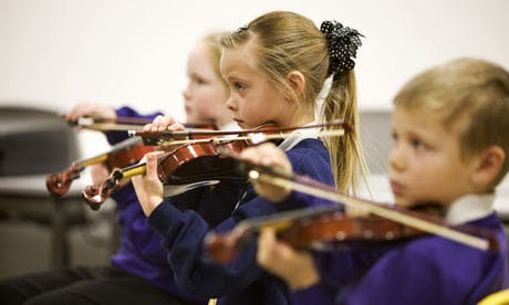 Children playing musical instruments in Scotland. Photograph: Murdo Macleod/Murdo Macleod