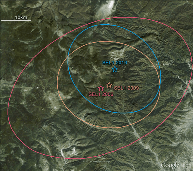 The site of North Korea's three underground detonations,