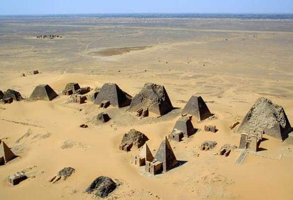 Sudan Meroe Pyramids, in 2001. More recently, researchers found 35 other pyramids (not pictured)at Sedeinga, a site in Sudan
