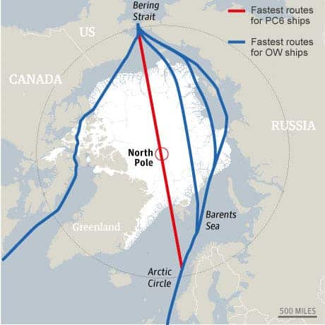 Projected Arctic shipping routes.