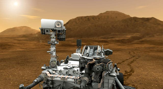 Artist impression of the Curiosity rover trekking through the red planet. The rover is tasked with assessing Mars' ability to sustain present or past microbial life. (C) NASA