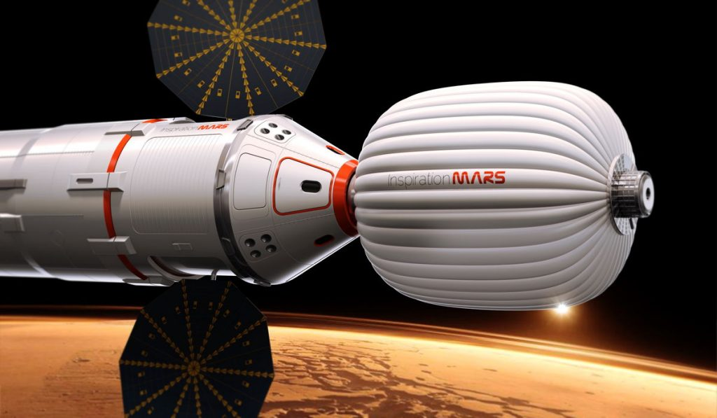 An artist's illustration of the Inspiration Mars Foundation's spacecraft for a 2018 mission to Mars by a two-person crew. The private Mars mission would be a flyby trip around the Red Planet. (c) Inspiration Mars Foundation
