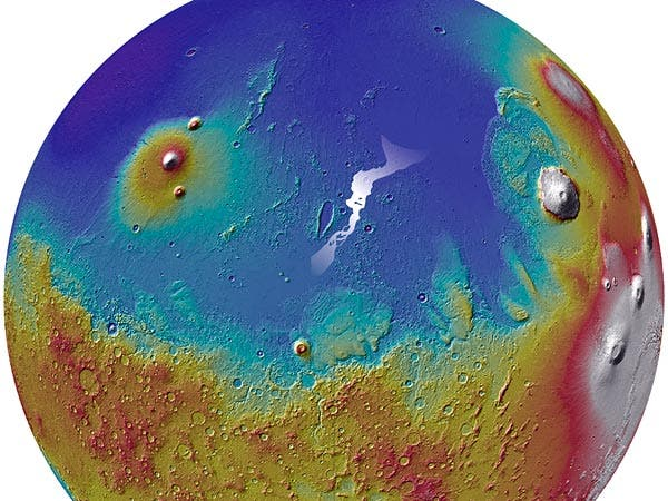 The Marte Vallis channel system (white area, center). (c) NASA