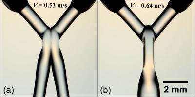 This figure shows two fluid jets merging into one on the right when just a 20 percent speed increase is applied. (c) Virginia Tech