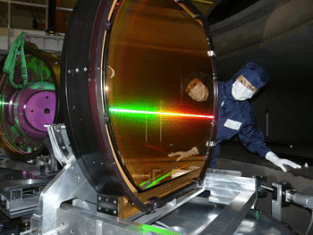 Scientists inspecting the compressor of the Vulcan Petawatt laser.