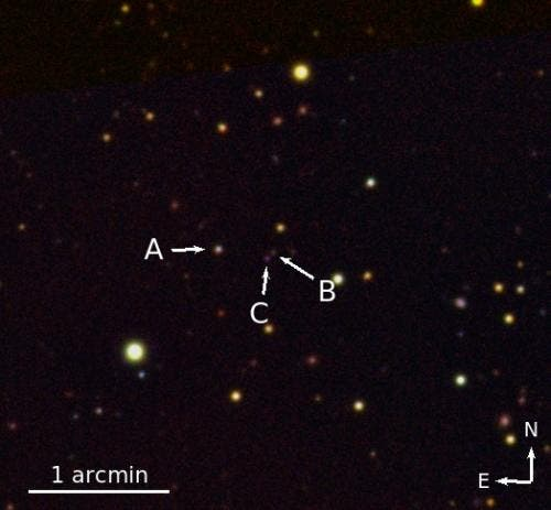 An infrared image of the triple quasar system made using the 3.5-m aperture telescope of the Calar Alto Observatory. The three quasars are labelled A, B and C. (Credit: Emanuele Paolo Farina)
