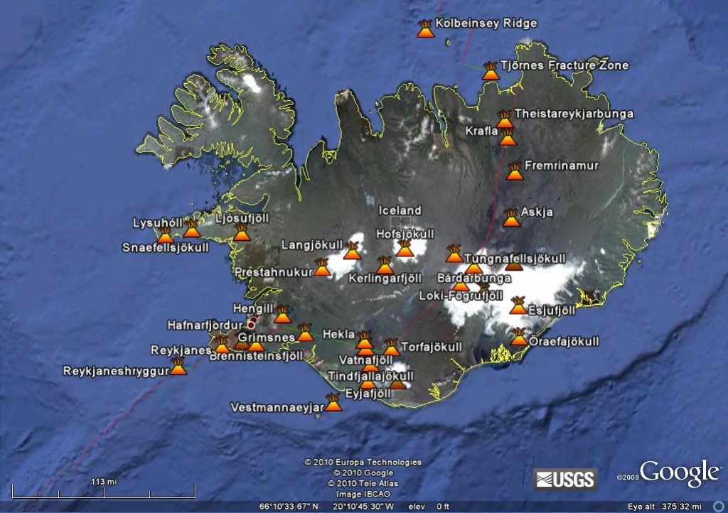 Volcanoes in Iceland.