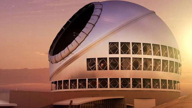 An artist's rendering of the Thirty Meter Telescope, which will become the world's biggest scope, at sunset. (TMT Observatory Corp.) l