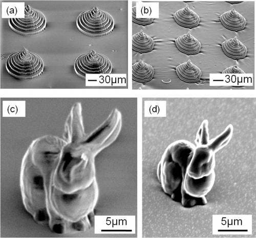 This shows two microstructures made with the new material, containing the highest concentration of RDGE. Left: Pre-charring. These pyramid and bunny models did not respond to the preferred method of 3-D shaping, so they were created using an alternative process. Right: Post-charring. Notice that the pyramid and bunny shrink significantly less than those made from the material with a lower concentration of RDGE. Credit: Optical Materials Express