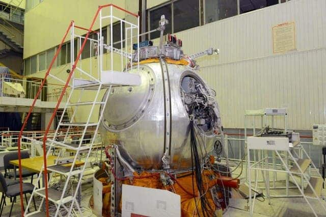 The mission's Bion-M life sciences satellite being prepped for launch. (c) Russian Federal Space Agency