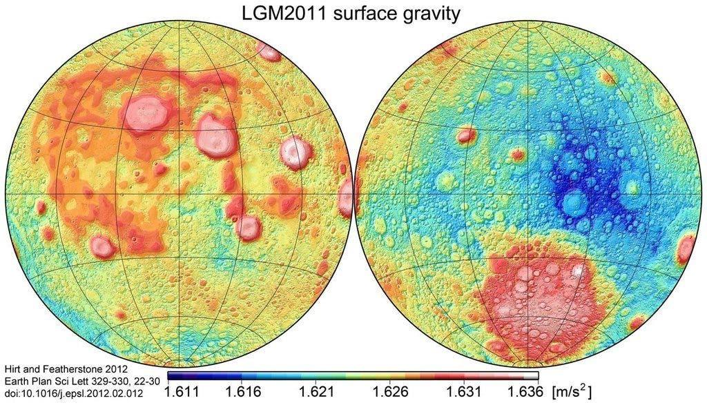 Moon gravitational map vs Moon iron distribution map