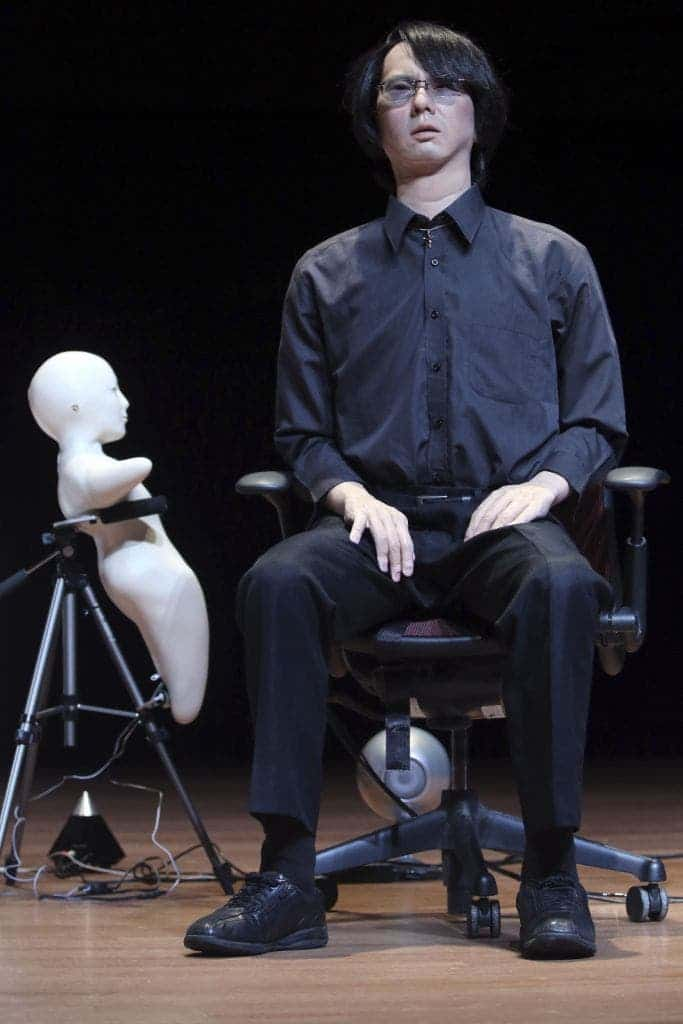 Dr. Hiroshi Ishiguro's Geminoid,takes the stage during the Global Future 2045 Congress, Saturday, June 15, 2013 at Lincoln Center in New York.  (AP Photo/Mary Altaffer)