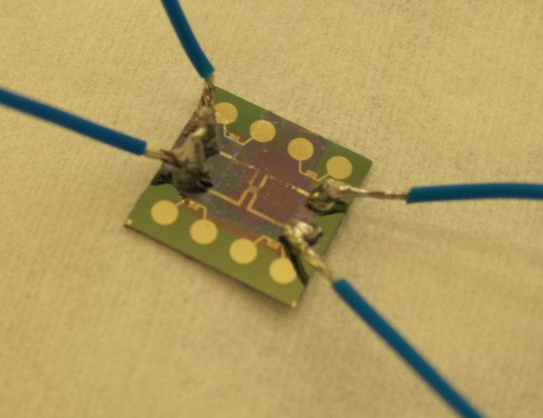 An electronic component where a graphene layer has been placed on the hotspots (credit: Chalmers University of Technology)