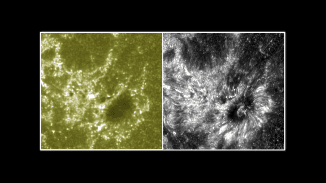 These two images show a section of the sun as seen by NASA's Interface Region Imaging Spectrograph, or IRIS, on the right and NASA's SDO on the left. The IRIS image provides scientists with unprecedented detail of the lowest parts of the sun's atmosphere, known as the interface region. Image Credit: NASA/SDO/IRIS