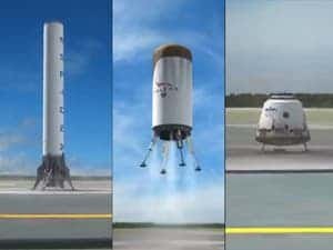 The three components of SpaceX's planned fully reusable rocket launching system: the first stage (left), second stage (center), and crew capsule (right). (c) SpaceX