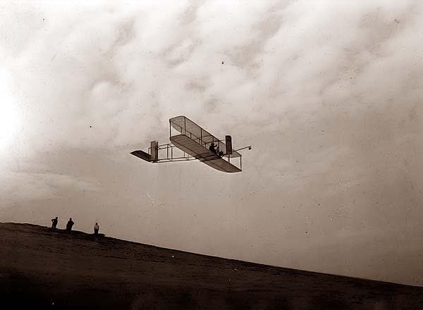 Wright Brothers Glider in mid flight. It was made in 1911.
