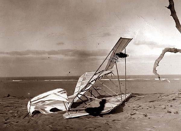 a collectible photograph of Crumpled glider wrecked by the wind on Hill of the Wreck (named after a shipwreck). It was created in 1900.