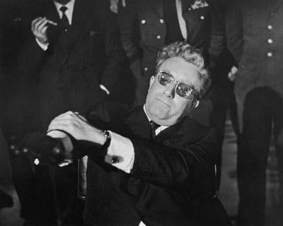 Awheelchair-bound Peter Sellers (Dr. Strangelove) continually loses control of his right arm. He repeately attepmts to give the Nazi Party salute before being beaten by his left hand. This film illustrates the comical struggle of Alien-Hand-Syndrome.