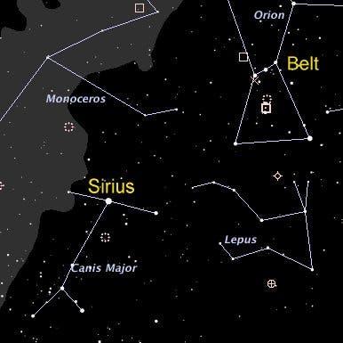 belt and sirius star chart