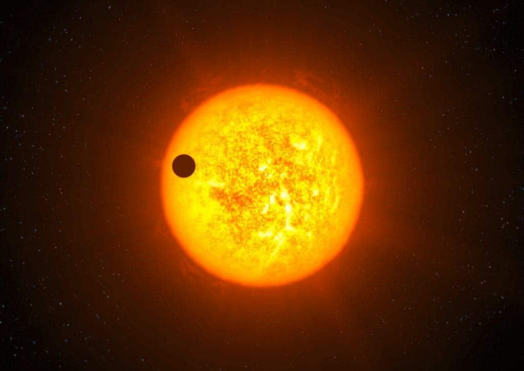 Illustration of a exoplanet transiting its parent star in the observational plane. (C) scienceoffice.org