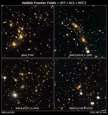 These are NASA Hubble Space Telescope natural-color images of four target galaxy clusters that are part of an ambitious new observing program called The Frontier Fields. NASA's Great Observatories are teaming up to look deeper into the universe than ever before. The foreground clusters range in distance from 3 billion to 5 billion light-years from Earth. (c) NASA/ESA