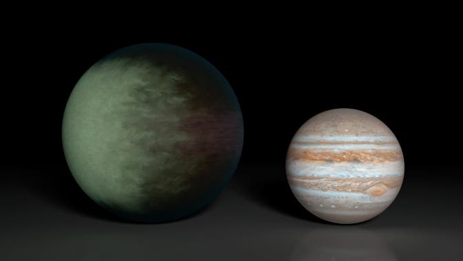 Kepler-7b (left), which is 1.5 times the radius of Jupiter (right), is the first exoplanet to have its clouds mapped.