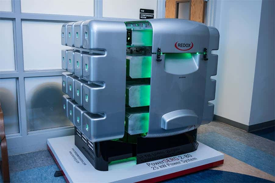 A mockup of the fuel cell prepped for released by Redox Power Systems.