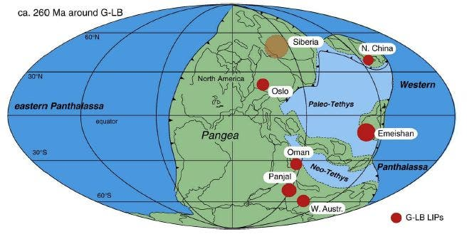 The world at the time of the Permian extinction. Highlighted are the biggest igneous provinces - notice Siberia.