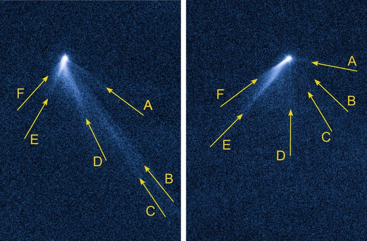 Hubble space telescope images of the space body taken on 10 September (left) and 23 September 2013 (right). These show P/2013 P5 with six tails, which surround it like the spokes of a cartwheel. While most of the tails became less bright between the observations, tail F significantly increased in brightness.  © NASA / HST