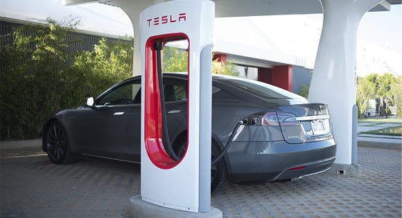Tesla Model S at a charging station