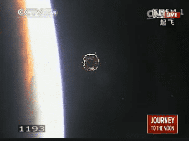 China's lunar probe as seen against the limb of the Earth. (c) CCTV